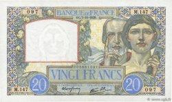 20 Francs SCIENCE ET TRAVAIL FRANCE  1939 F.12.01 SUP