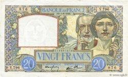 20 Francs SCIENCE ET TRAVAIL FRANCE  1940 F.12.05 pr.SUP