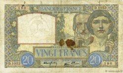 20 Francs SCIENCE ET TRAVAIL FRANCE  1940 F.12.07 B+