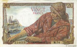 20 Francs PÊCHEUR FRANCE  1943 F.13.05 TTB+