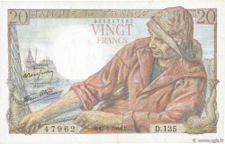 20 Francs PÊCHEUR FRANCE  1944 F.13.09 TTB+