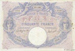 50 Francs BLEU ET ROSE FRANCE  1907 F.14.19 pr.TTB
