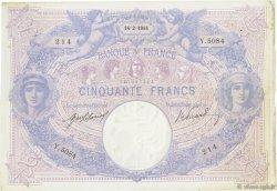 50 Francs BLEU ET ROSE FRANCE  1914 F.14.27 TTB