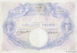 50 Francs BLEU ET ROSE FRANCE  1922 F.14.35 TTB