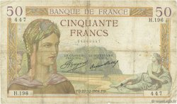 50 Francs CÉRÈS FRANCE  1934 F.17.02 B+