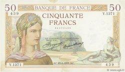 50 Francs CÉRÈS FRANCE  1935 F.17.08 TTB+