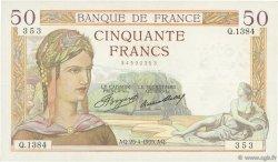 50 Francs CÉRÈS FRANCE  1935 F.17.08 TTB
