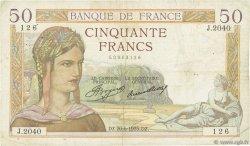 50 Francs CÉRÈS FRANCE  1935 F.17.11 TB