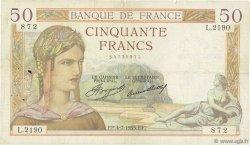 50 Francs CÉRÈS FRANCE  1935 F.17.12 TB
