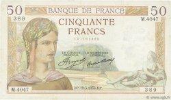 50 Francs CÉRÈS FRANCE  1936 F.17.23 TTB