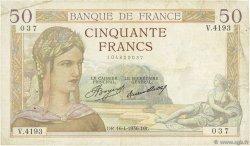 50 Francs CÉRÈS FRANCE  1936 F.17.24 TB+