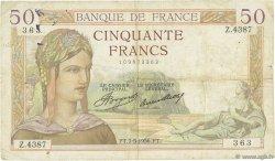 50 Francs CÉRÈS FRANCE  1936 F.17.25 TB