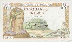 50 Francs CÉRÈS FRANCE  1937 F.17.37 SUP+