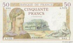 50 Francs CÉRÈS modifié FRANCE  1937 F.18.05 TTB