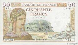 50 Francs CÉRÈS modifié FRANCE  1937 F.18.06 TTB