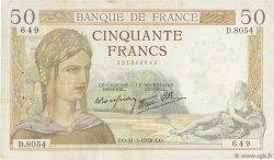 50 Francs CÉRÈS modifié FRANCE  1938 F.18.11 pr.TTB