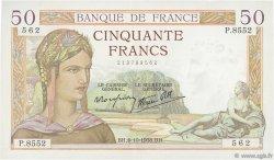 50 Francs CÉRÈS modifié FRANCE  1938 F.18.15 SUP+