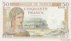 50 Francs CÉRÈS modifié FRANCE  1938 F.18.16 SUP