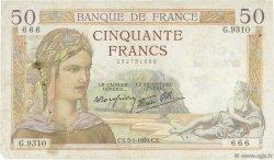 50 Francs CÉRÈS modifié FRANCE  1939 F.18.19 TB