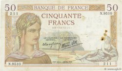 50 Francs CÉRÈS modifié FRANCE  1939 F.18.20 TB