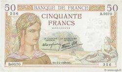 50 Francs CÉRÈS modifié FRANCE  1939 F.18.21 TTB