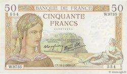 50 Francs CÉRÈS modifié FRANCE  1939 F.18.22 TTB