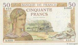 50 Francs CÉRÈS modifié FRANCE  1939 F.18.23 TTB