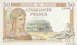 50 Francs CÉRÈS modifié FRANCE  1939 F.18.28 pr.SPL