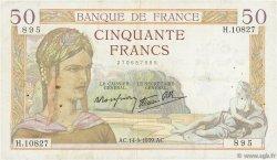 50 Francs CÉRÈS modifié FRANCE  1939 F.18.30 TB+