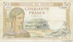 50 Francs CÉRÈS modifié FRANCE  1940 F.18.41 TB+