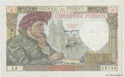 50 Francs JACQUES CŒUR FRANCE  1940 F.19.01 TTB