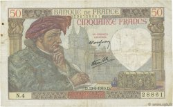 50 Francs JACQUES CŒUR FRANCE  1940 F.19.01 TB+