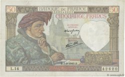 50 Francs JACQUES CŒUR FRANCE  1940 F.19.02 pr.TTB