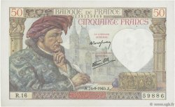 50 Francs JACQUES CŒUR FRANCE  1940 F.19.03 SUP