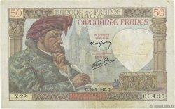 50 Francs JACQUES CŒUR FRANCE  1940 F.19.03 TTB