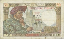 50 Francs JACQUES CŒUR FRANCE  1941 F.19.05 TB