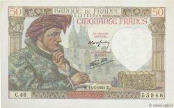 50 Francs JACQUES CŒUR FRANCE  1941 F.19.07 SUP+
