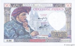 50 Francs JACQUES CŒUR FRANCE  1941 F.19.09 pr.SPL