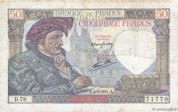 50 Francs JACQUES CŒUR FRANCE  1941 F.19.10 TB