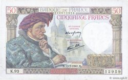 50 Francs JACQUES CŒUR FRANCE  1941 F.19.12 TB+