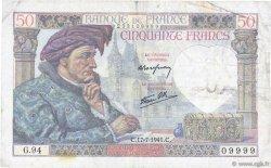 50 Francs JACQUES CŒUR FRANCE  1941 F.19.12 TB+