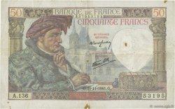 50 Francs JACQUES CŒUR FRANCE  1941 F.19.16 TB+