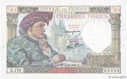 50 Francs JACQUES CŒUR FRANCE  1942 F.19.20 TTB+