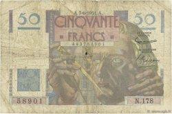 50 Francs LE VERRIER FRANCE  1951 F.20.18 B