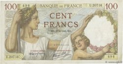 100 Francs SULLY FRANCE  1941 F.26.50 TTB
