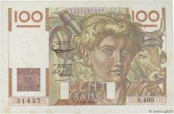 100 Francs JEUNE PAYSAN FRANCE  1952 F.28.34 SPL