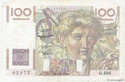 100 Francs JEUNE PAYSAN filigrane inversé FRANCE  1952 F.28bis.01 TB