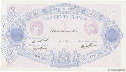 500 Francs BLEU ET ROSE modifié FRANCE  1937 F.31.04 pr.SUP