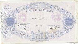 500 Francs BLEU ET ROSE modifié FRANCE  1938 F.31.07 TB+
