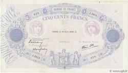 500 Francs BLEU ET ROSE modifié FRANCE  1938 F.31.08 TB+